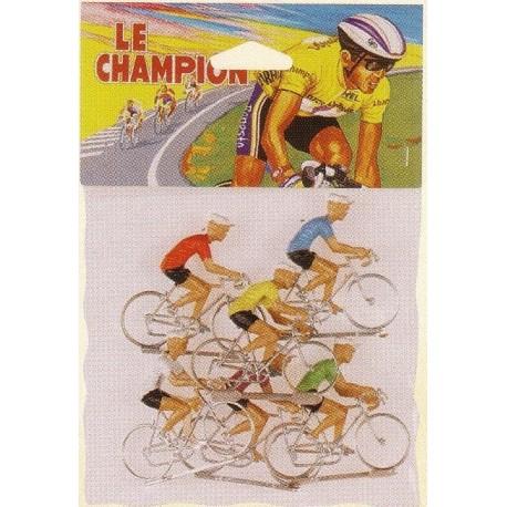 coureur cycliste miniature plastique dur (x6), échelle 1/32