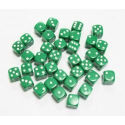 Dé 6 faces, couleur verte, 12 mm