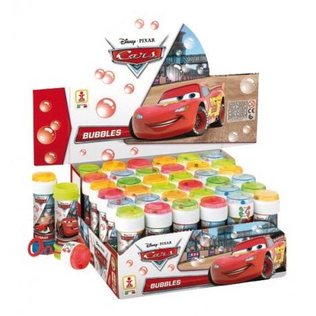 Bulles de savon Disney Cars, 60 ml, souffleuse accrochée au couvercle, avec jeu sur le couvercle