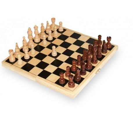 Jeu d'échecs en bois, Goki, 25,5 x 25,5 cm échiquier pliable, pièces incluses