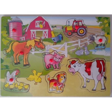 Puzzle en bois 8 pièces, animaux de la ferme