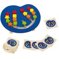 Assortir les couleurs, table de jeu en bois