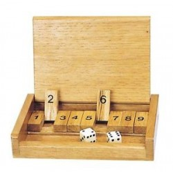 Shut the box simple, jeu en bois, format voyage