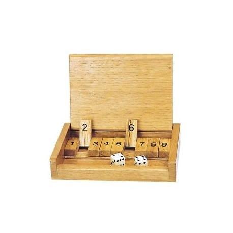 Shut the box simple, jeu en bois, format voyage