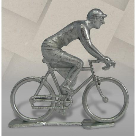 Cycliste miniature métal brut rétro position rouleur, zamak brut, 1/32