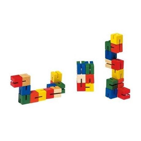 Puzzle de poche en bois 14,5 cm de longueur, relié par un élastique