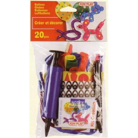kit ballons + décoration : ballons, autocollants, notice, SANS pompe