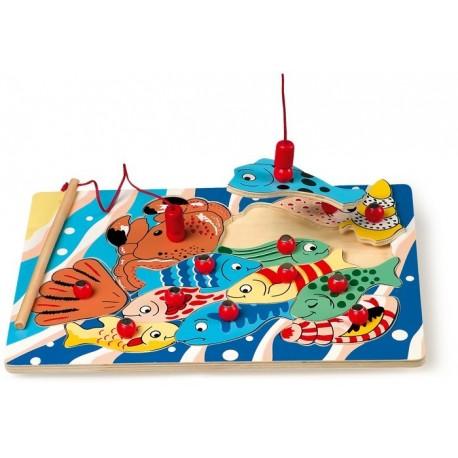 Puzzle pêche à la ligne avec 2 cannes à pêche magnétiques