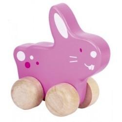 Animal à pousser en bois, lapin