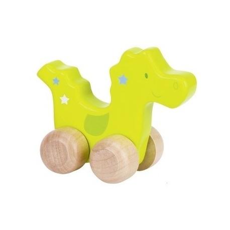 Animal à pousser en bois, dinosaure, 10 cm de longueur