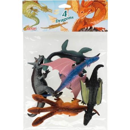 Dragons maxi (x4), dimensions de 15 à 20 cm, tous différents