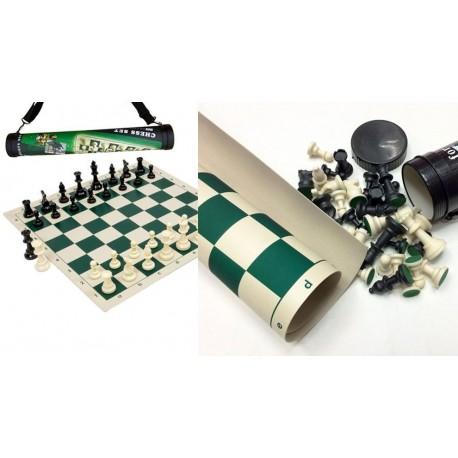 Jeu d'échecs, version voyage en tube, plateau en plastique souple