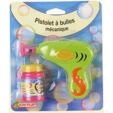 pistolet à bulles, mécanique + flacon de bulles, 15 cm de longueur