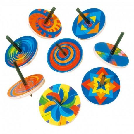 Toupie multicolore en bois, axe de rotation en plastique