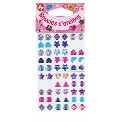 60 Boucles d'oreille stickers, 30 paires à coller