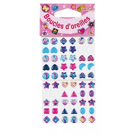 60 Boucles d'oreille stickers, 30 paires à coller