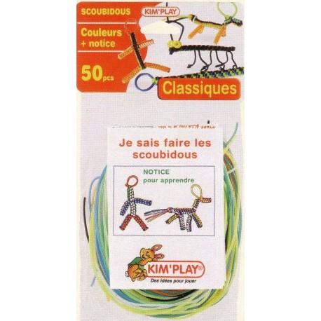 Scoubidous 50 brins 80 cm de longeur avec notice réalisation