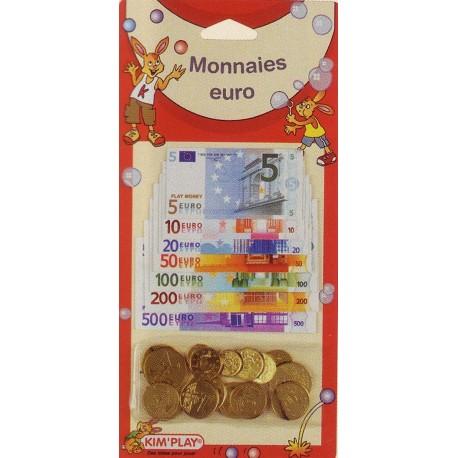Set de pièces et billets pour jouer à la marchande, monnaie en euros
