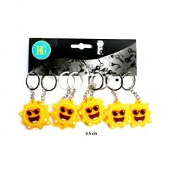 Porte clé soleil visage 4,5 cm (x12)