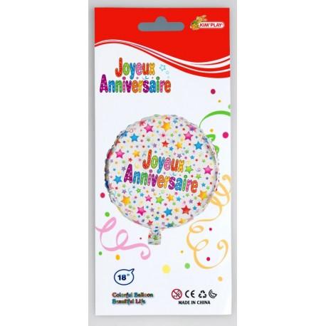 Ballon PVC hélium Joyeux Anniversaire 18 pouces