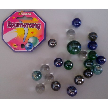 20 billes + calot boomerang, Diamètre des billes 1,5 cm et du calot 2,5 cm