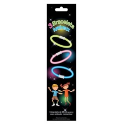 3 bracelets phosphorescents, 20 cm de longueur, avec attaches de fixation