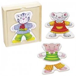 Boite puzzle animaux à habiller en bois rigolos, Goki