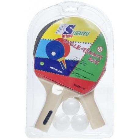 Set de ping pong: 2 raquettes + 3 balles