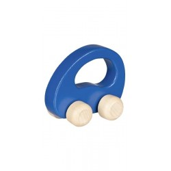 Voiture à saisir en bois, colori bleu