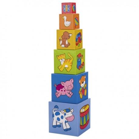 Cubes à empiler, Goki, 6 cubes, en carton, couleurs vives