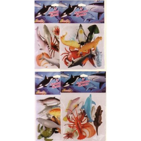 Animaux de la mer (x9), de 7,6 à 12,7 cm, animaux tous différents