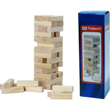 La Tour en bois, 56 blocs en bois, hauteur 24 cm