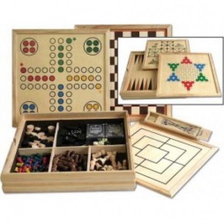 Assortiment de jeux en bois 4 en 1, 20 cm