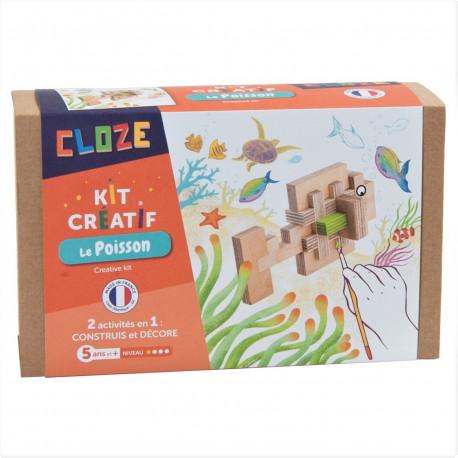 Jeu de construction en bois, Cloze, kit créatif, le poisson