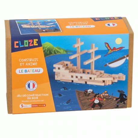 Jeu de construction en bois, Cloze, le bateau, 75 pièces