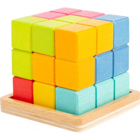 Puzzle cubes 3D, formes géométriques en bois