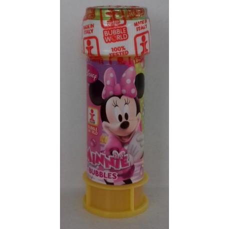 Bulles de savon Minnie, 60 ml, Disney, souffleuse accrochée au couvercle, avec jeu sur le couvercle