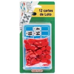 12 cartes de loto + pions numérotés