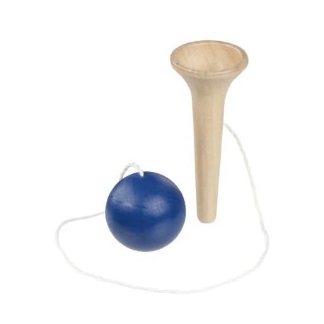 Bilboquet en bois, Goki, boule bleue