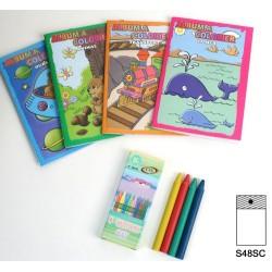 Album à colorier 16 dessins + 4 crayons