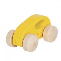 Voiture en bois 1er âge jaune