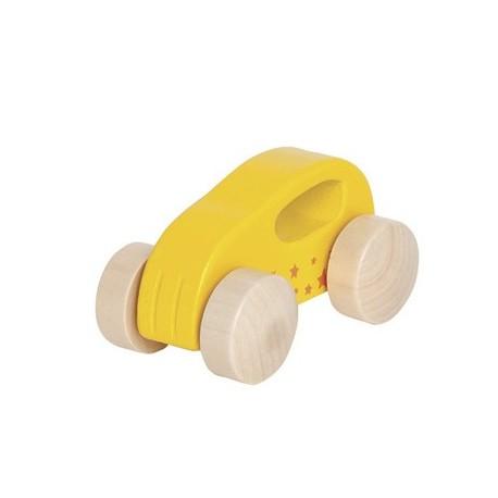 Voiture en bois premier âge jaune, Hape, avec poignée de prise en main
