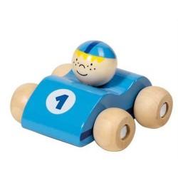 Voiture de course en bois, bleu clair, Goki : roule petit bolide !