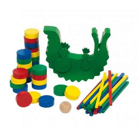Crocodile en équilibre, jeu en bois, Goki, 13 x 11 cm. 60 éléments.