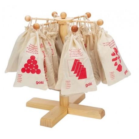 Casse tête en bois, Goki, sac en tissu, 6 modèles différents