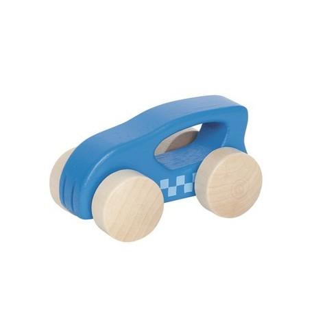 Voiture en bois premier âge bleue, Hape, avec poignée de prise en main