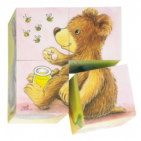 Puzzle cubes en bois animaux, Goki