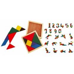 Puzzle de logique en bois, tangram 12 x 12 cm