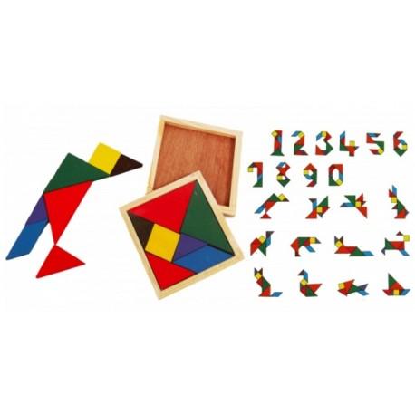 Puzzle en bois, 12 x 12 cm, 7 formes, tangram