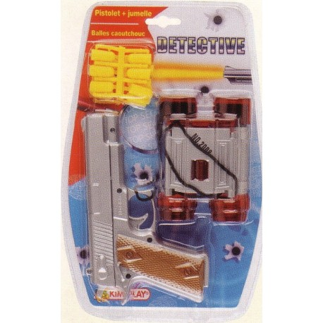pistolet en plastique + jumelles + 12 balles caoutchouc